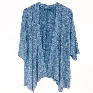 H by Halston | Blue Short Sleeve Cardigan Sweater